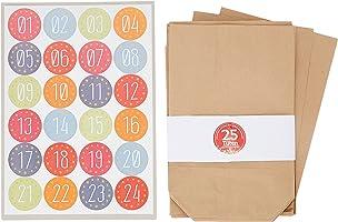 Adventino Adventskalender 24 Kraftpapiertüten im Set mit 24 weihnachtlichen Aufklebern zum Verschließen für Weihnachts-Geschenktüten zum Basteln und Befüllen