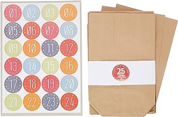 24 Kraftpapiertüten im Set mit 24 weihnachtlichen Aufklebern zum Verschließen für Weihnachts-Geschenktüten zum Basteln und Befüllen
