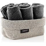 blomus -TELA- haakmand L van kunstvezel, zand, mand voor opslag, hoogwaardige afwerking, exclusieve look, ideaal voor handdoe
