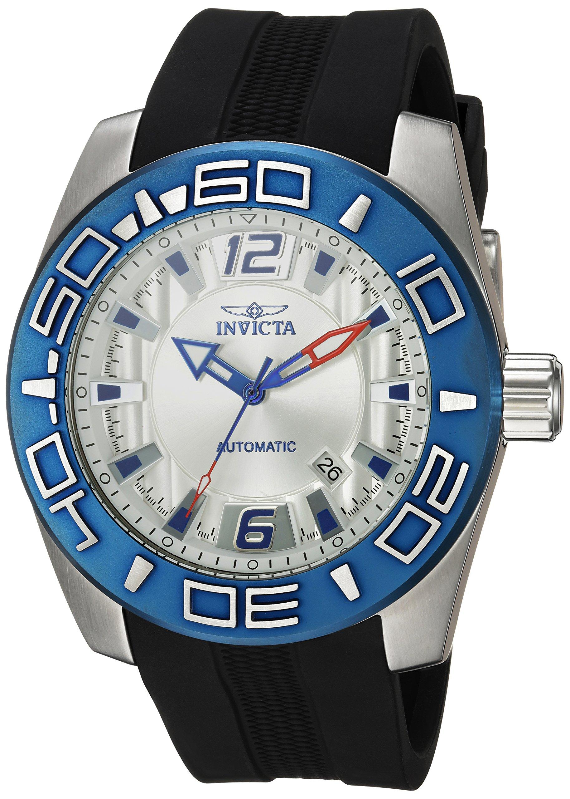 Invicta 'Aviator' automático reloj Casual de Silicona y acero inoxidable, Color negro (modelo: 23530)