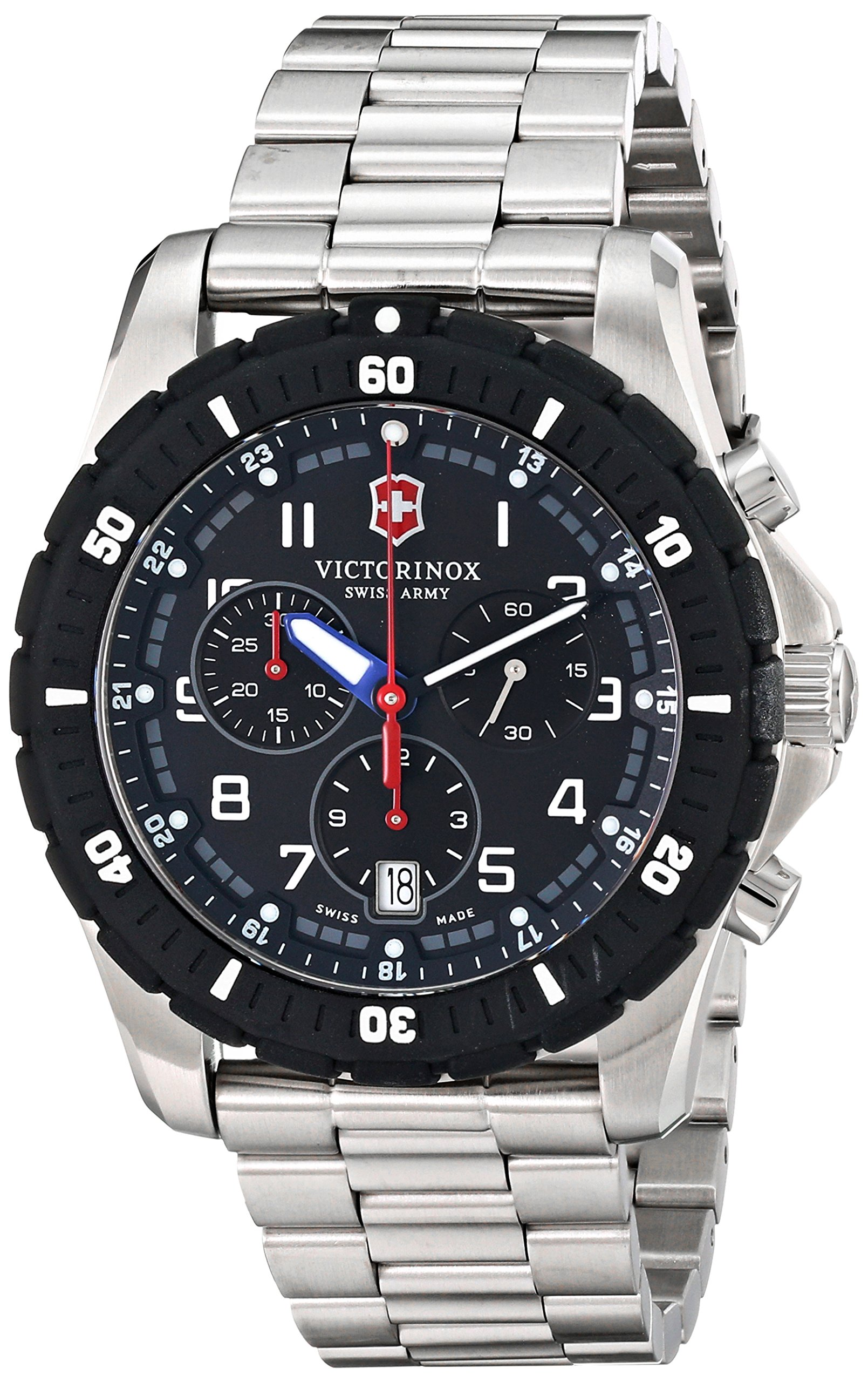 Swiss Army Maverick Sport Quartz Chronograph Stainless Steel Mens Watch Calendar 241679