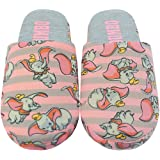Disney Dumbo Slippers For Women   Ladies Grey & Pink Polyester Slip On House Shoes With Grip Sole   Adults Disney Gifts