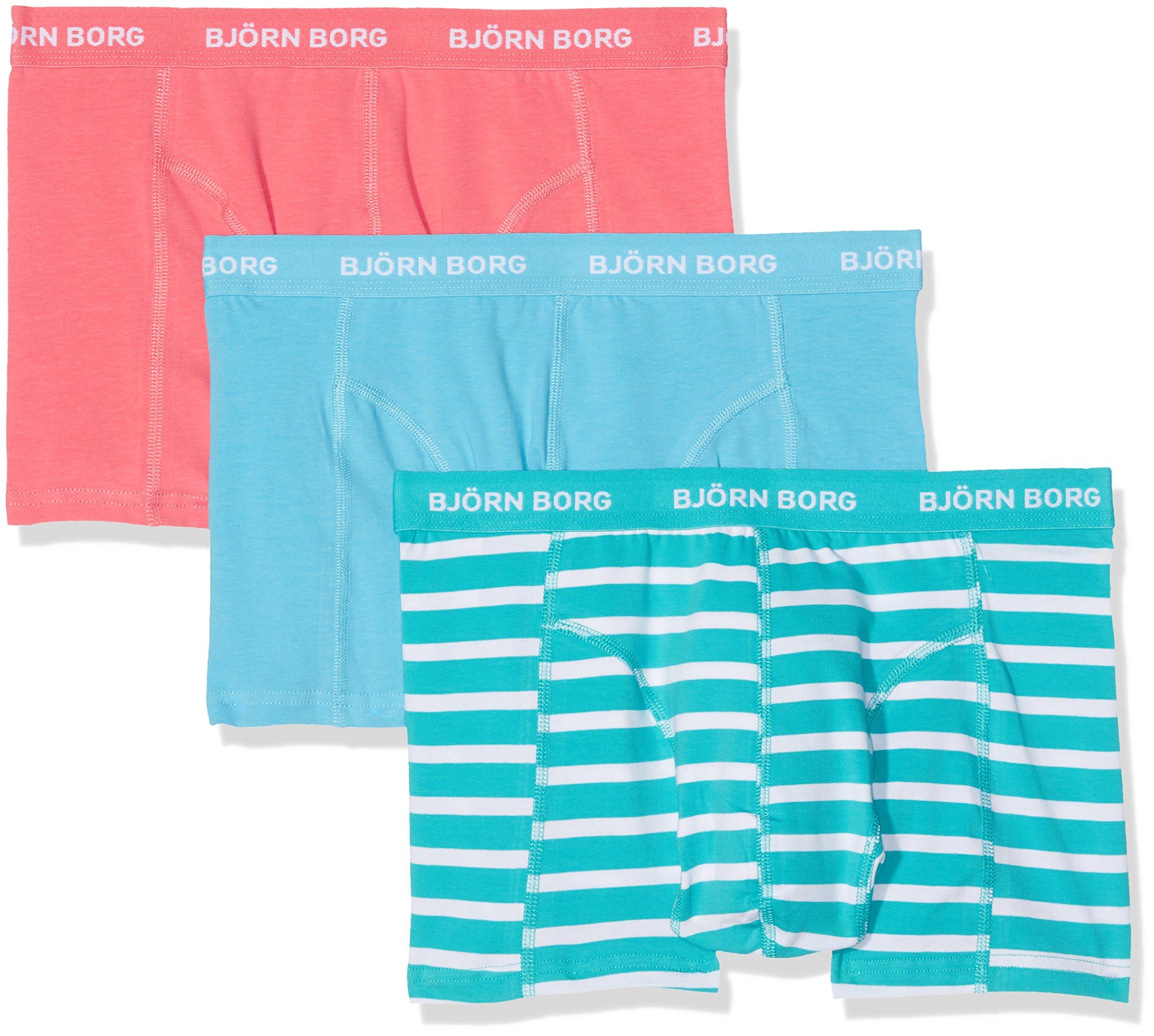 Bj�rn Borg Bjorn Borg 3P Short Shorts Bb Stripe, Boxer Uomo, Turquoise (Ceramic), Small