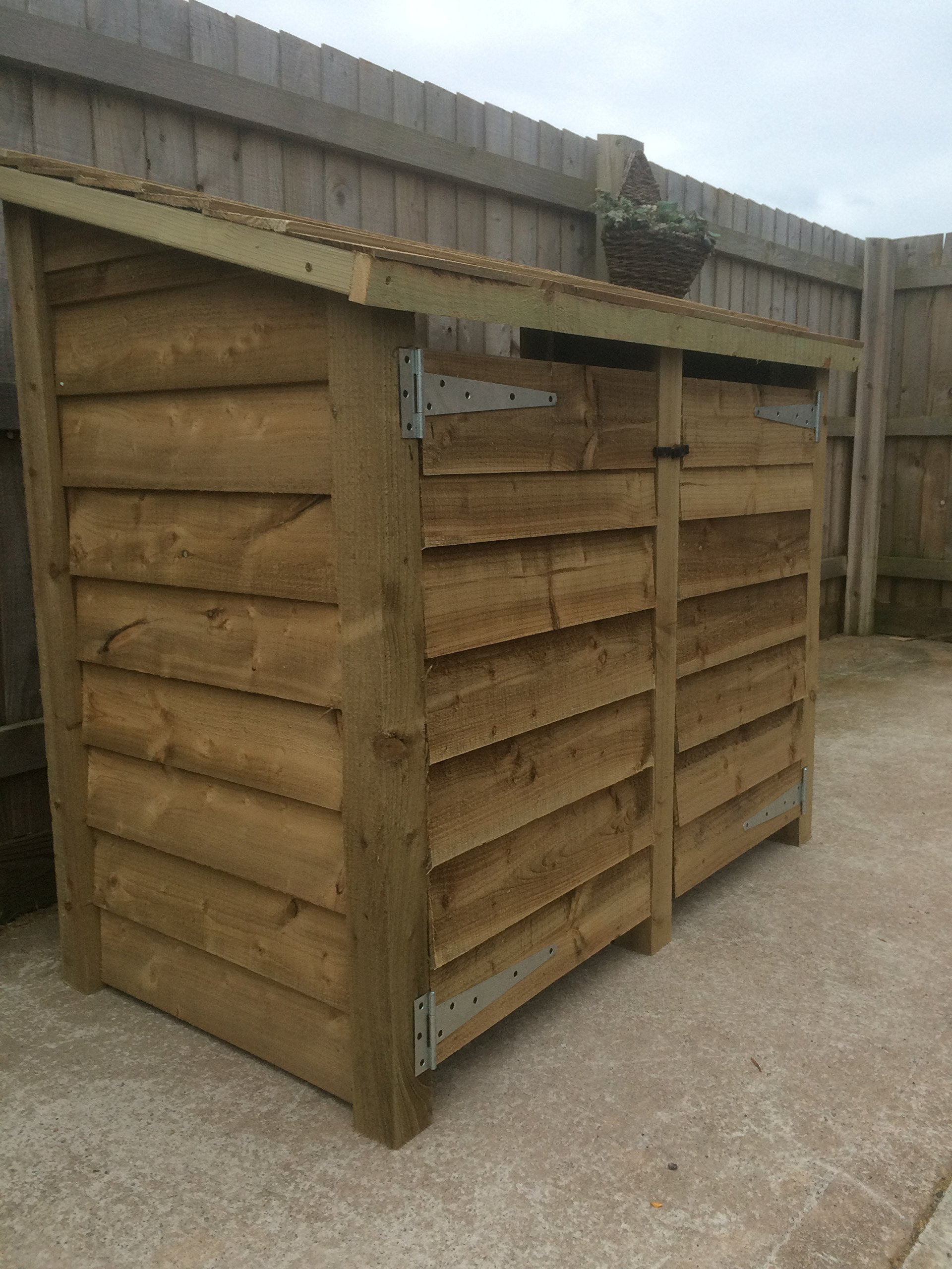 GIDLEIGH 4ft TALL WOODEN LOG STORE/GARDEN STORAGE WITH DOORS, HEAVY DUTY, HAND MADE, PRESSURE TREATED,WITH DOORS
