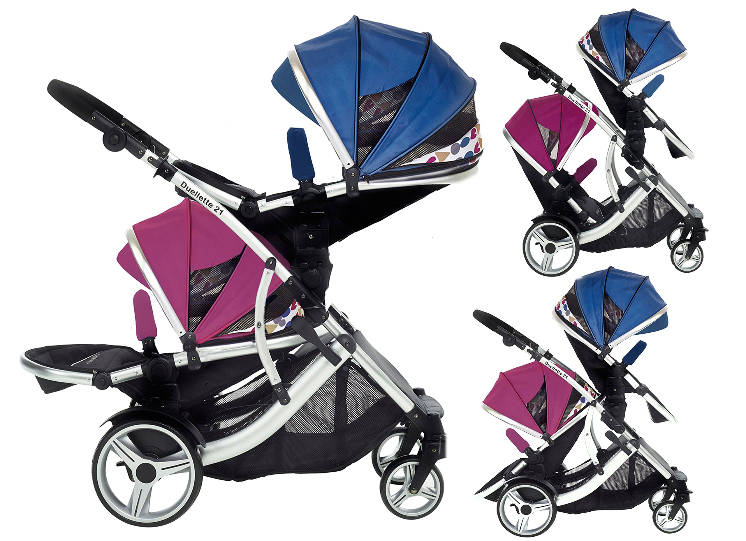 Kids Kargo Duellette 21 BS Travel System Pram Double Pushchair (Raspberry and Blueberry) Kids Kargo Suitability Newborn Twins (if used with car seats) or Newborn/toddler. Various seat positions. Both seats can face mum (ideal for twins) Accommodates 1 or 2 car seats 1