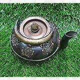 NIM Brass Tibetan Buddhist Style Antique Finish Flat tyre Shape teapot/Kettle Used as Table Decoration Piece with 6 Auspiciou