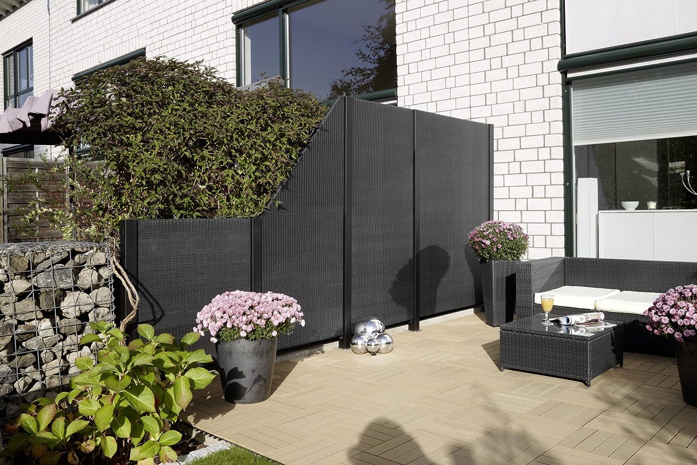 GARTENFREUDE Garten Zaun Sichtschutz Zäune Polyrattan 80 x 4 x 180