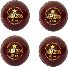 CW Pack of 4 Garrison Red Leather Sports Men's Size Club School Matches Cricket Ball Full Hand Stitched 4 Cut Pieces Made 156 gm Weight