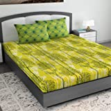 Divine Casa 100% Cotton Abstract 144 TC King Size Bedsheet with 2 Pillow Covers -Yellow and Green