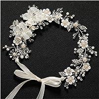SWEETV accessori per capelli fiore matrimonio argento gioielli per capelli fasce da sposa diadema di cristallo