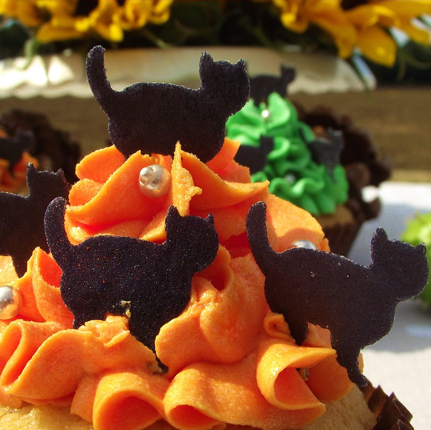 halloween cake decorations edible wafer stand up cats cat cake toppers black or mixed set black amazoncouk kitchen home