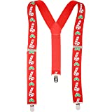 Christmas Candy Cane Suspender Braces Adult Size Red Adjustable 3.5cm Trouser Braces