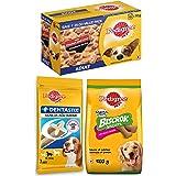 Pedigree Adult Wet Dog Food, Chicken & Liver Chunks in Gravy, 70 g& Biscrok Biscuits Dog Treats , Milk and Chicken Flavor, 50