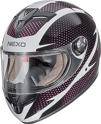 Nexo Integralhelm Motorradhelm Helm Motorrad Mopedhelm City Damen Herausnehmbare Lady Fit Komfortpolster Belüftungssystem Klares Visier Ratschenverschluss Brillenträger Geeignet Xs M Bekleidung