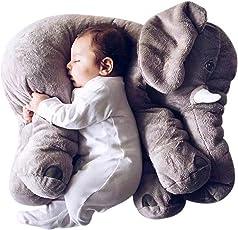 Skylofts Soft Stuffed Animal Elephant Short Plush Doll Cotton Cushion Pillow Cover Toy (Grey)