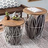 طاولات جانبية من الخشب والمعدن من لافيش هوم قابلة للتحويل والتداخل مع مساحة تخزين ومخصصة للمنزل والمكتب - (مجموعة من قطعتين)،