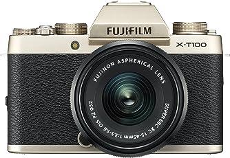 Fujifilm X-T100 Systemkamera (24,2 Megapixel, 7,6 cm (3 Zoll) Touch-Display, APS-C-Sensor) Kit inkl. XC15-45mm F3.5-5.6 OIS PZ Objektiv champagner gold