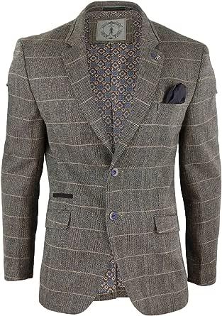 Cavani Mens Oak Brown Vintage Check Herringbone Tweed Blazer Jacket or Waistcoat Retro