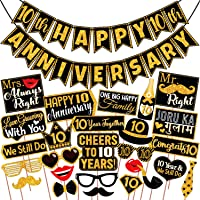 Wobbox 10th Anniversary Photo Booth Party Props DIY Kit with 10th Anniversary Bunting Banner, Golden Gliter & Black…