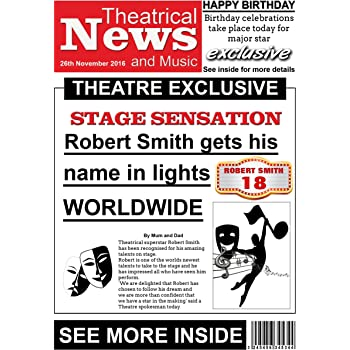 Personalised Theatre Themed Newspaper Birthday Card
