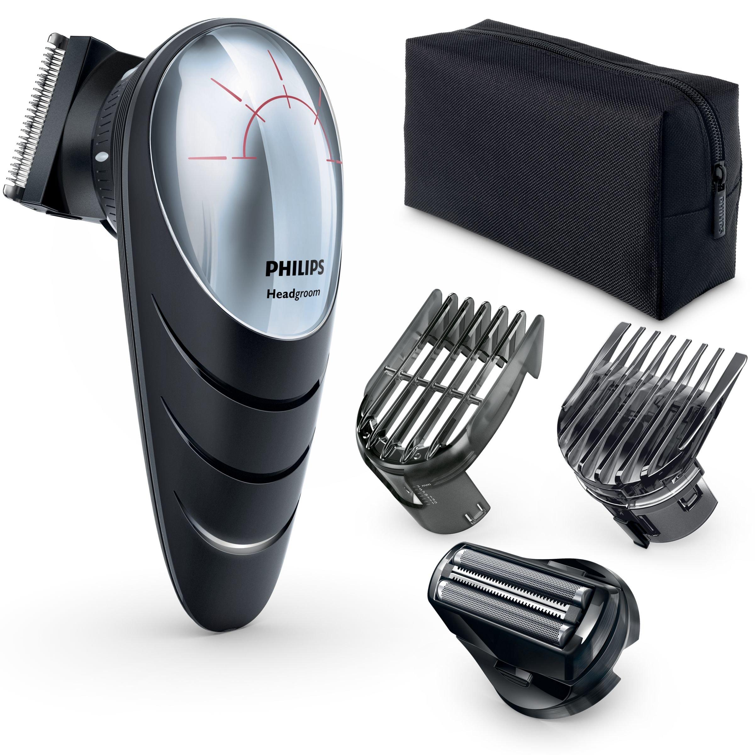 Philips QC5580/32 – Cortapelos con cabezal con giro de 180º para un mejor alcance. Incluye cabezal de corte con peine de 14 posiciones y cabezal de afeitado, red + recargable, negro