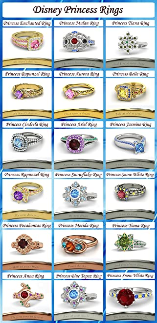 Disney Princess Wedding Rings Vorra Fashion 925 Sterling Silver 18 Inspired Engagement
