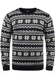 !Solid Winno Herren Weihnachtspullover Norweger-Pullover Winter Strickpullover Grobstrick Pullover mit Rundhalsausschnitt