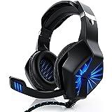 CSL - PC Gaming Headset mit Kabelfernbedienung | Klinkenanschluss 3,5mm | Kopfhörer mit Mikrofon/Headset | Mikrofon einklappbar | Für Gaming, Musik, Chat, Internet-Telefonie, Filme