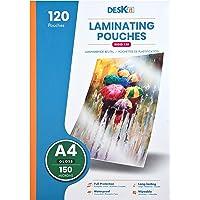 Pochette plastifieuse Deskit A4, brillantes, 120 feuilles, 150 microns - Présentations claires et durables - Rigidité…