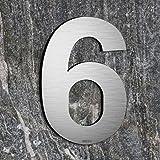Qoboob® roestvrijstalen huisnummers 6 Zes of 9 Negen straatnummer fijn geborsteld zilver 200mm (1 stuks)