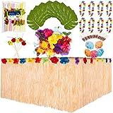 127 delar Hawaiiansk tropisk fest paket dekorationer bordskjol gröna blad hibiskus blommor Hawaiian Leis paraplypinnar 3D fru