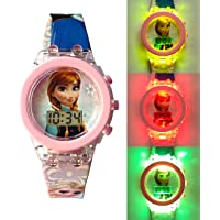 Digital Multicolored Glowing Led Light Pink Watch for Girl's (Best Return Gift)