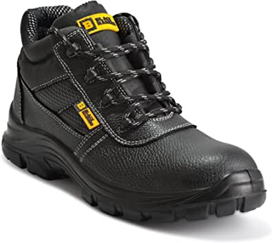 Black Hammer Mens Safety Boots Work Waterproof Shoes Leather Steel Toe Cap Working Ankle Lightweight Footwear S3 SRC 1007