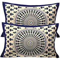 RajasthaniKart Cotton 144TC Bedsheet (43X67 Cm_Blue)