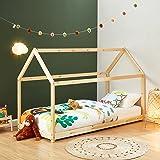 BAÏTA Lit cabane Enfant Montessori Tiny - Bois Massif de pin Naturel - 90x190cm