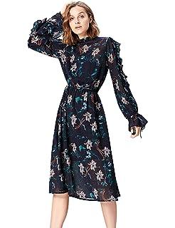 16d51549942d12 Damen Blumen Kleider Druckkleid Casual Herbst 3/4 Arm Swing Kleid ...