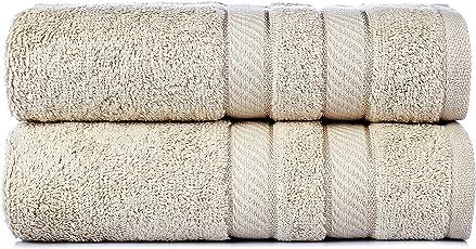 Trident Air Rich Premium Cotton 600 GSM Set Of 2 Hand Towls - Beige