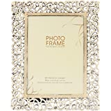 NM White Metal Photo Frame with Stone Decoration Beautifully Look Birthday, Anniversary Festivals Gift
