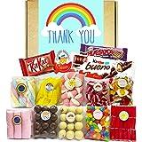 Cesta Thank You, Lote de Dulces, Golosinas y Chocolate. Caja con Nubes de Colores, Ositos Haribo, Jelly Beans, Kinder Joy, Hu