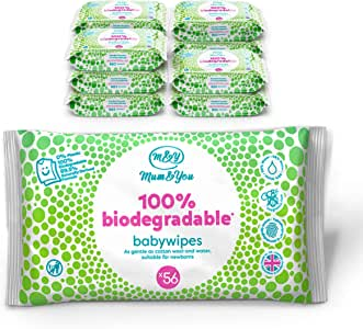 Mum & You 100% Biodegradable Vegan Registered Plastic Free Baby Wet Wipes, Pack of 12, (672 Wipes). 99.4% Water, 0% Plastic, Hypoallergenic & Dermatologically Tested