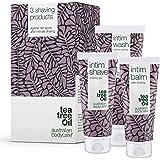 Australian Bodycare Intimate Shaving Kit | 3 Tea Tree Oil produkter mot inåtväxta hår, skäggpest och röda rakknoppar efter in