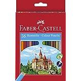 Faber-Castell F120136 - Estuche cartón con 36 lápices hexagonales multicolor, lápices escolares de colores