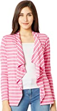 Miss Chase Women's Pink and White Striped Shrug