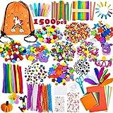 Yetech Pipe Cleaners Crafts Set pour Enfants,1500+ PCS Fil Chenille Pompon Bâtons d'artisanat de Bricolage Activites manuelle