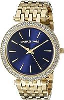 مايكل كورس دارسي ساعة بمينا لون ازرق و سوار من الستانلس ستيل للنساء - MK3406