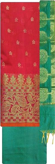 Kashi Fancy Sarees Women's Banarasi Handloom Cotton Unstitched Dress Material (kfsd21, Pink, Free Size)
