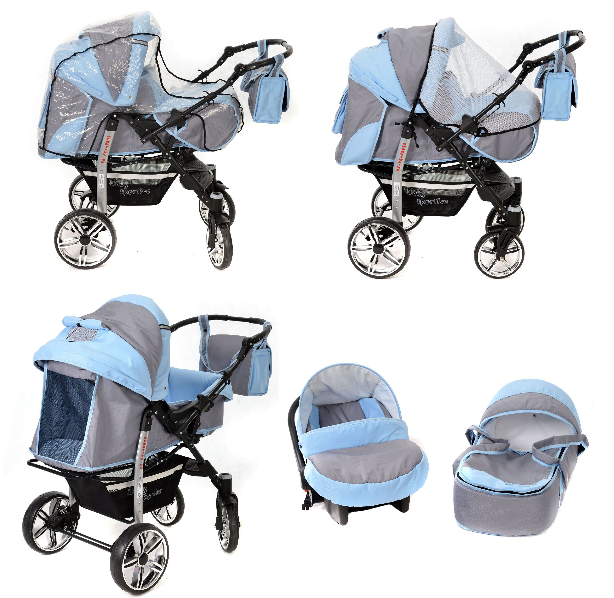 Sportive X2, 3-in-1 Travel System incl. Baby Pram with Swivel Wheels, Car Seat, Pushchair & Accessories (3-in-1 Travel System, Pale Grey & Blue)  3 in 1 Travel System All in One Set - Pram, Car Carrier Seat and Sport Buggy + Accessories: carrier bag, rain protection, mosquito net, changing mat, removable bottle holder and removable tray for your child's bits and pieces Suitable from birth, Easy Quick Folding System; Large storage basket; Turnable handle bar that allows to face or rear the drive direction; Quick release rear wheels for easy cleaning after muddy walks Front lockable 360o swivel wheels for manoeuvrability , Small sized when folded, fits into many small car trunks, Carry-cot with a removable hood, Reflective elements for better visibility 7