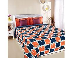 Amazon Brand - Solimo Microfibre Quilt AC Blanket, 120 GSM, Orange, Double (Magic Mines, 230 x 254 cm)