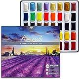 MozArt Supplies Komorebi premium japansk akvarellfärgset – 40 rika färger – med glänsande metaller och vibrerande neonfärger