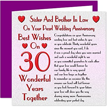 Sister Brother In Law 30th Wedding Anniversary Card On Your